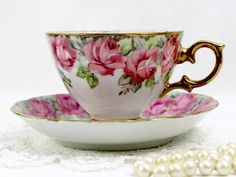 Vintage Teacup and Saucer, Royal Sealy Tea Cup, Banded Pink Roses Japan