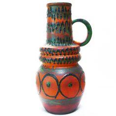 XXL West German Pottery Floor Vase / Bodenvase • Scheurich • 70's • H 48 cm