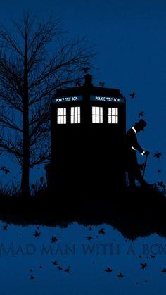 WallsRoyal: Doctor Who TARDIS artwork blue background leaves ...