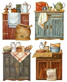 Comments: LiveInternet – Russian Service of Online Diaries Kitchen Images, Kitchen Art, Vintage Kitchen, Kitchen Country, Paper Art, Paper Crafts, Design Tisch, Pintura Country, Country Paintings
