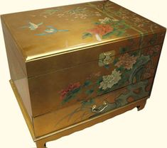 End table sized Oriental trunk. Hand painted gold leaf with one drawer and inside shelf. Trunk End Table, Oriental Decor, Trunk Side Table, Storage Trunks, Hand Painted, Decorative Boxes, Hand Painted Furniture, Chalk Paint Furniture, Oriental Trunk