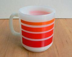 Glasbake striped coffee cup mug orange red stripes white milk glass