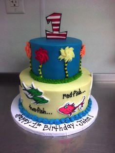 dr.+seuss+cake+ideas | seuss dr seuss 1st birthday dr seuss cake one fish two fish cake round ...