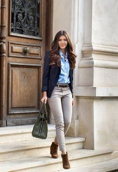Grown up school uniform featuring skinny jeans that is perfect for the office