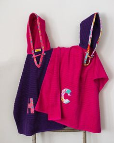 Hooded Towel Poncho, in Purple & Bright Pink. Boy or Girl print (your choice). Bath or beach towel.