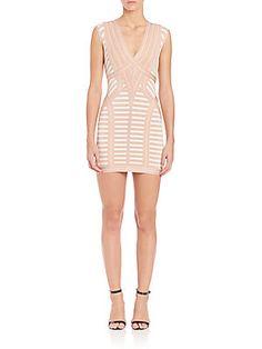 d00c63783a0bc Herve Leger Katina Cap Sleeve Jacquard Dress