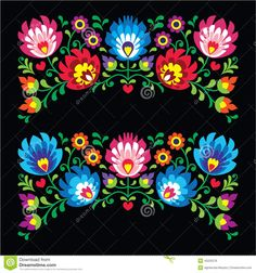 Popular Embroidery Designs Polish floral folk embroidery patterns for card on black - Wzory Lowickie Stock Vector - - Millions of Creative Stock Photos, Vectors, Videos and Music Files For Your Inspiration and Projects. Mexican Embroidery, Hungarian Embroidery, Folk Embroidery, Learn Embroidery, Floral Embroidery, Embroidery Stitches, Machine Embroidery, Polish Embroidery, Bordado Popular