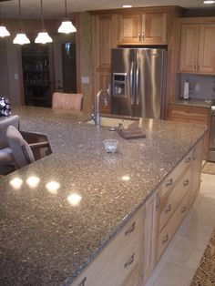 Traditional Kitchen Cambria Quartz Countertop Halstead I like the monochromatic feel of this kitchen Maple Kitchen, Kitchen Redo, Kitchen And Bath, New Kitchen, Kitchen Remodel, Kitchen Ideas, Kitchen 2016, Kitchen Designs, Brown Cabinets