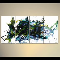 60 x 36 Modern White Abstract Painting Black Teal by OsnatFineArt