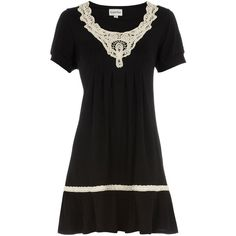 Black crochet neck tunic (€16) ❤ liked on Polyvore featuring dresses, vestidos, women, macrame dress, ruffled dresses, frill dress, frilly dresses and crochet dress