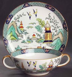 """Coalport Chinese Willow Pattern Cream Soup & Saucer 