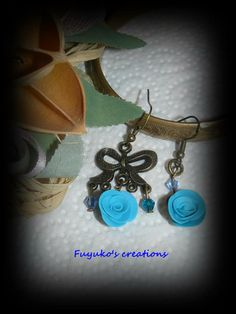 Rose and ribbon earring -polymer clay-