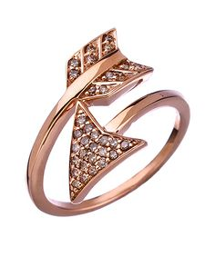 Rose Gold and Diamond Arrow Ring, $825 | 45 Engagement Rings That Don't Suck