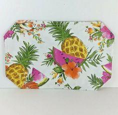 Hawaiian Pineapple Floral Vinyl Placemats Set of 2 Reversible Tropical Patio