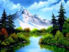 Bob Ross party: Mountain Reflections - The Joy of Painting Bob Ross Painting Videos, Bob Ross Paintings, Scenery Paintings, Mountain Paintings, Nature Paintings, Paintings Of Mountains, Watercolor Landscape, Landscape Art, Landscape Paintings