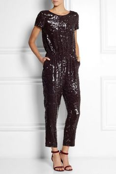 jcrew sequin -like the open heels with this sequin night out jump suit