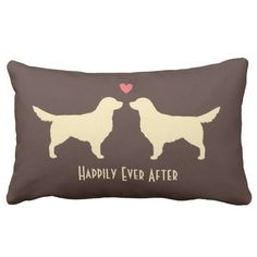 Golden Retrievers - Wedding Dogs with Text Throw Pillow