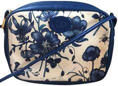 ffa87905b23f Gucci Rare Vintage Camera Flora Leather Blue Canvas Cross Body Bag - Tradesy