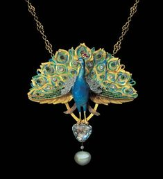 LEOPOLD VAN STRYDONCK Attrib.  Art Nouveau Peacock Pendant  Gold Enamel Emerald Ruby Diamond by alyssa miller