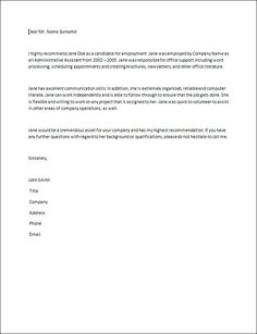 Formal character reference letter templates letters pinterest letter of recommendation samples recommendation letter how to write a recommendation letter spiritdancerdesigns Image collections