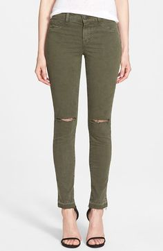 Free shipping and returns on J Brand Mid Rise Skinny Jeans at Nordstrom.com. Shredded knees and frayed, released ankle-length hems further the relaxed vibe of mid-rise skinnies cast in a stony vintage wash. Luxe Japanese denim provides a soft, stretchy fit with fantastic shape retention.