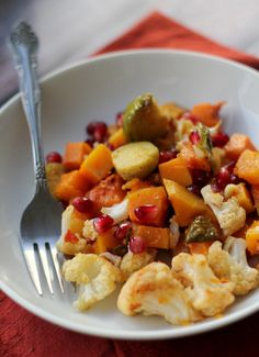 roasted butternut squash, brussels sprout and cauliflower salad with sriracha vinaigrette