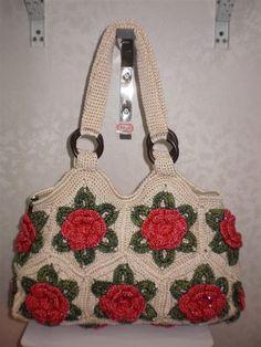 Handmade wool crochet hook handbag