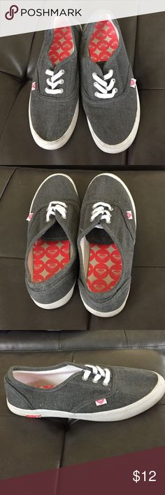 Gray Roxy shoes. Lightly used! Good condition! Grey Roxy shoes with white edging, wear with laces tucked in or out! Comfortable and cute! Slightly dirty on the white edges on the bottom but otherwise in great condition! Size 7. Roxy Shoes Sneakers