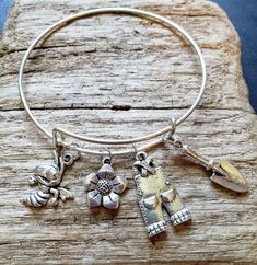 The Gardener Charm Jewelry, Jewelry Gifts, Fine Jewelry, Bangles, Bracelets, Really Cool Stuff, Charmed, Handmade, Etsy