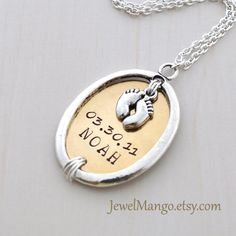 Keepsake baby Mommy necklace hand stamped baby birth necklace, mom personalized baby necklaces, Name date Perfect for new mom, baby feet. $32.20, via Etsy.