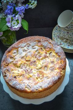 Grandma's delicious rhubarb cake recipe with ricotta- Omas leckeres Rhabarberkuchen Rezept mit Ricotta cake ideas bake recipes - Pie Recipes, Cookie Recipes, Dessert Recipes, Food Cakes, Rhubarb Cake, Ricotta Cake, No Bake Cake, Love Food, Breakfast Recipes