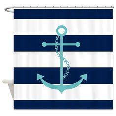 Heartlocked: Teal Anchor on Blue Stripes Shower Curtain: Nautical Design Striped Shower Curtains, Custom Shower Curtains, Bathroom Shower Curtains, Fabric Shower Curtains, Anchor Bathroom, Modern Bathroom Decor, Bathroom Ideas, Seaside Bathroom, Boy Bathroom