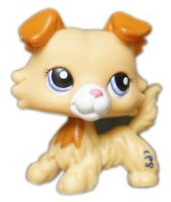 2'' Rare Collie Cream Yellow Puppy Dog Kids Toys Littlest Pet Shop LPS 2452