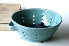 Ceramic Colander Berry Bowl - Robins Egg Blue French Country Dinnerware - Ready to Ship
