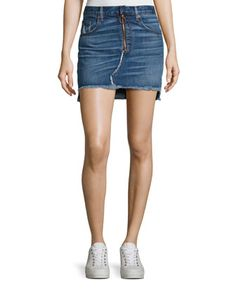 O-Ring Denim Mini Skirt with Staggered Raw Hem, Otto by rag