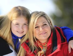 Argentine born Dutch Queen Maxima and Princess CatharinaAmalia of The Netherlands pose at a photocall during their ski holidays in Lech am Arlberg...