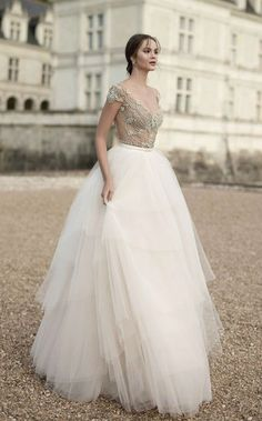 tulle ballgown wedding dress with jewel embellished scoop neck bodice via alon livne / http://www.himisspuff.com/top-100-wedding-dresses-2017-from-top-designers/2/