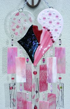Cool valentine art  SPECIAL ORDER for Lisa - Kirks Glass Art Fused Stained Glass Wind Chime windchime - Hearts