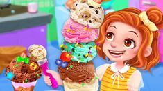 Summer Frozen Ice Cream Maker - Sweet Icy Treats - Fun Games For Kids Cooking Games For Kids, Fun Games For Kids, Freeze Ice, Ice Cream Maker, Frozen, Treats, Make It Yourself, Sweet, Desserts
