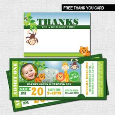 ZOO TICKET INVITATIONS + BONUS THANK YOU CARD - Safari/Jungle Animal Birthday Party  (Printable Files) - by nowanorris on Etsy