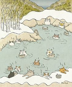 cat hot springs | Cute illustrations by Ms. Cat