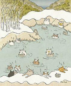 Cats, Beavers & Ducks — Cute illustrations by Ms. Cat - Printing Animals - Katzen World I Love Cats, Crazy Cats, Cute Cats, Illustration Mignonne, Illustration Art, Cat Illustrations, Art Mignon, Japanese Cat, Cat Drawing