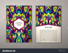 Flyer Template With Abstract Ornament Pattern. Vector Greeting Card Design. Front Page And Back Page. - 465079907 : Shutterstock