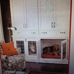 built in cabinets to hide dog crate - Google Search