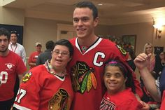 The Blackhawks captain stayed an hour longer than planned as he hung out with some of his biggest fans.