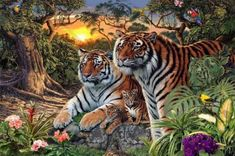 MasterPieces Hidden Images Glow in the Dark Jungle Pride - Bengal Tigers 550 Piece Jigsaw Puzzle by Steve Read, Multicolor Tiger Painting, Oil Painting On Canvas, Diy Painting, Forest Painting, Painting Process, Painting Tools, Pet Tiger, Bengal Tiger, Cross Paintings