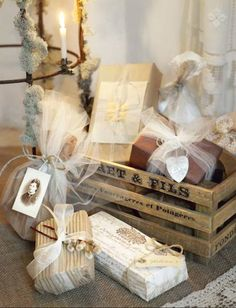 craft papers and tulle gift wrapping