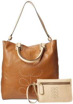 Amazon.com: Orla Kiely Structure Stem Leather Willow 13SBSTE067-2305-00 Tote,Toffee,One Size: Clothing