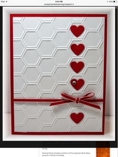 The card - embossing folder used for background is from SU. Added some punched hearts and ribbon. Colors are real red and white. by patrice Valentines Day Cards Handmade, Valentines Diy, Greeting Cards Handmade, Homemade Valentine Cards, Valentine Nails, Hexagon Cards, Valentines Bricolage, Embossed Cards, Heart Cards