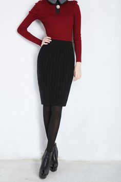 2015Autumn&Winter Casual Womens High Waist Knee-length Cable Knitted Long Wool Pencil Skirts Bust Tube Skirt Female